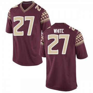 Youth Zaquandre White Florida State Seminoles Nike Game White Garnet Football College Jersey
